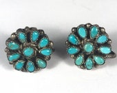 Turquoise Petit Point Screw Back Earrings