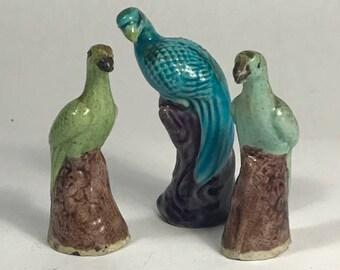 Set of 3 Chinese Ceramic Bird Figurines