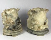 Jade Brush Holders Carved with Lotus and Frog