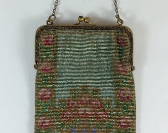 Antique French Steel Cut Beaded Purse with Floral Ornamentation & Fringe