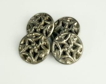 Sweden -plain Silver-plated set of 5 BUTTONS replica from Birka Bjorko no pattern