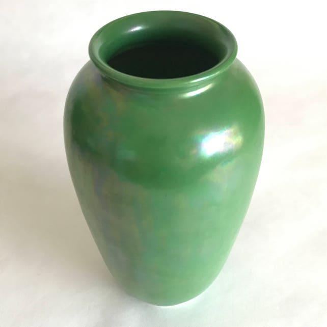 Signed Ruskin Art Pottery Vase In Green Luster Etsy