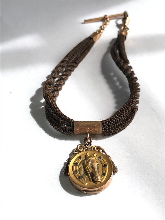 2d39373c75dba Human Hair Watch Chain Horse Locket Fob