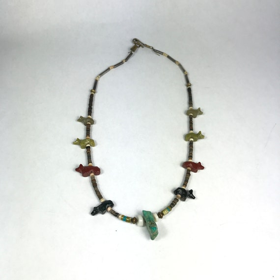 Hand Carved Bear Fetish Necklace with Turquoise Nugget