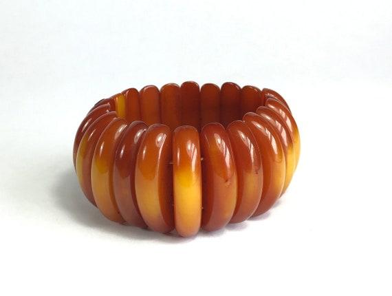 Mid-Century Amber Stretch Bracelet