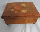 Vintage Beautiful Floral Italian Marquetry Jewelry Music Box box f