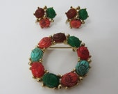 Vintage Egyptian Scarab Beetle Costume Jewelry Pin and Matching Earrings