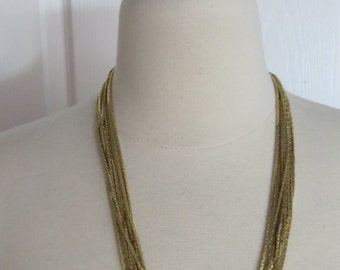 Vintage 80's Multi Chain Gold Tone Ladies Costume Jewelry Necklace Unmarked