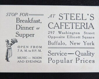Antique Business Card Steel's Cafeteria Buffalo New York Plus 14 Other Locations