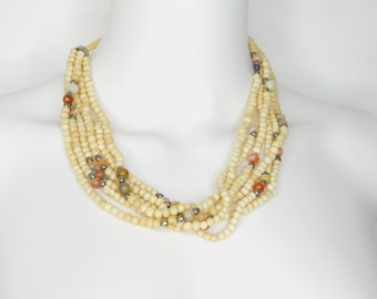 Vintage Natural Beaded Necklace with Polished Gemstones and Silvertone Beads