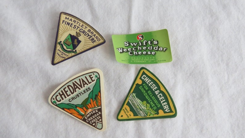 Four Unused 1930/'s to 1950/'s  Colorful Advertising Cheese Labels for Repurpose Like Chedavale Empire Cheddar Box K-3 Pack #3