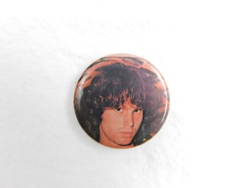 """Vintage 1980's Rock and Roll Pin Pinback Button """"Jim Morrison """" The Doors    DR-7"""