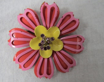 Vintage Colorful 1960's Flower Power Costume Jewelry Pin or Brooch