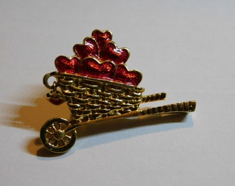 Vintage Wheelbarrow Costume Jewelry Pin Full of Red Enameled Hearts