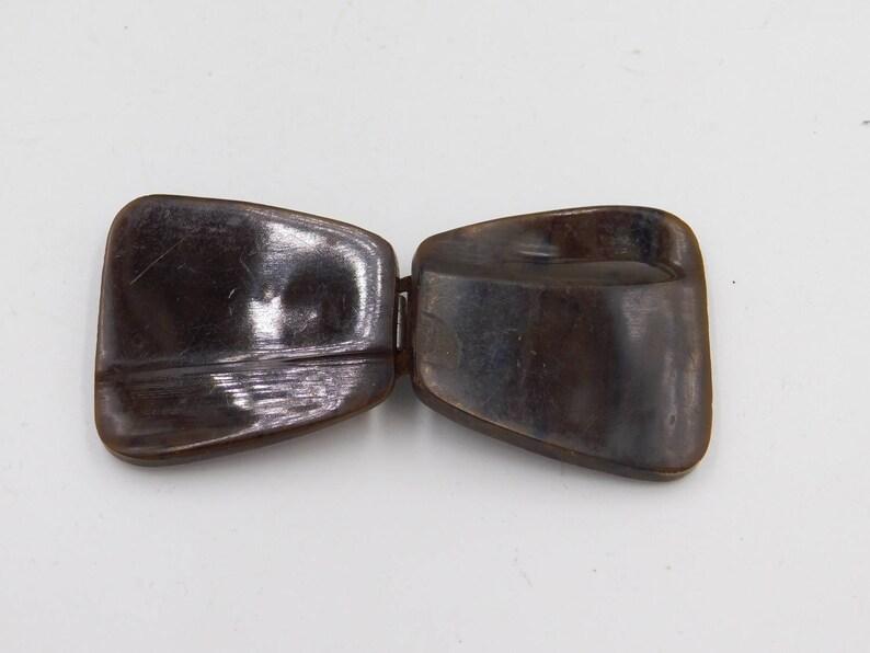 Vintage Brown Bakelite or Plastic Belt Buckle for Repurpose Bu-13