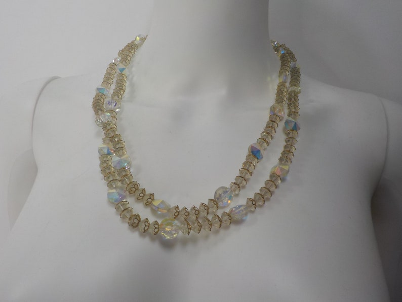 Vintage 1950/'s Faceted Crystal Double Strand Graduated Necklace NE