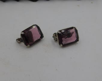 Antique Sterling Silver with Purple Amethyst Clip-on Earrings dr60