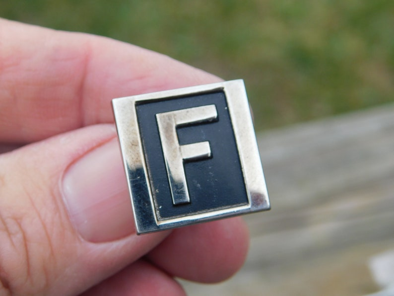 Vintage Large Metal Cufflinks with the Letter F initial on them dr71