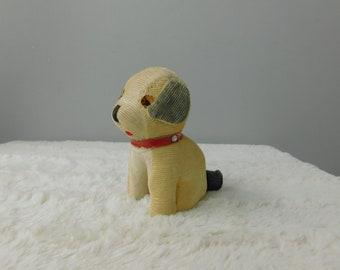 1950's Vintage Cute Little Straw Filled Corduroy Toy Dog Stuffed Animal Missing One Eye