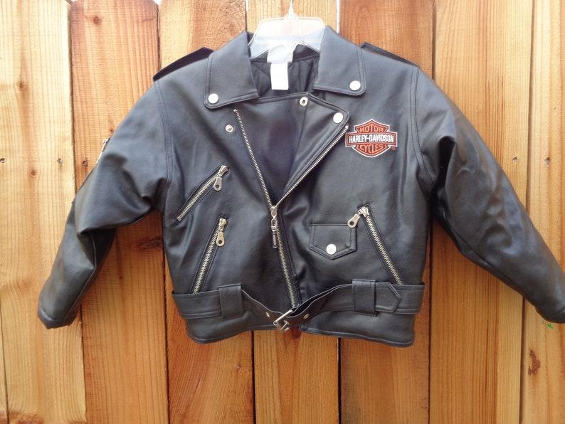 357eb75c Sz.7 Harley Davidson faux leather Jacket   Etsy