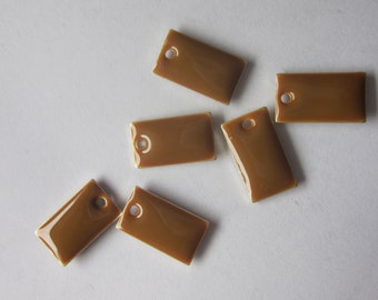 Yellow Rectangle Charms Epoxy and Silver Plated Brass 14x8mm 2 Charms