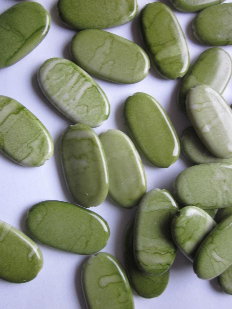 Green Oval Acrylic Beads 29x16mm 12 Beads