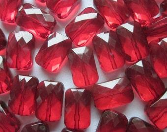 Dark Red Transparent Rectangle Acrylic Beads 18mm 14 Beads