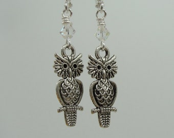 STERLING SILVER OWL CRYSTAL RHINESTONE EARRINGS V964
