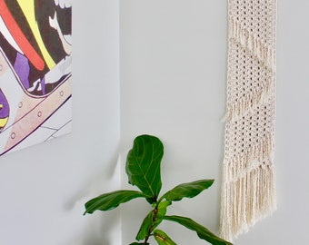 Long Handcrafted Macrame Wall Hanging with Tassel Detail