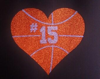 Women's Glitter Bling Basketball Heart With Custom Number Shirt