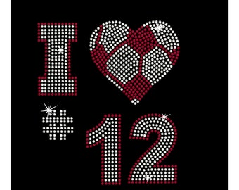 Women's rhinestone Soccer heart with custom number