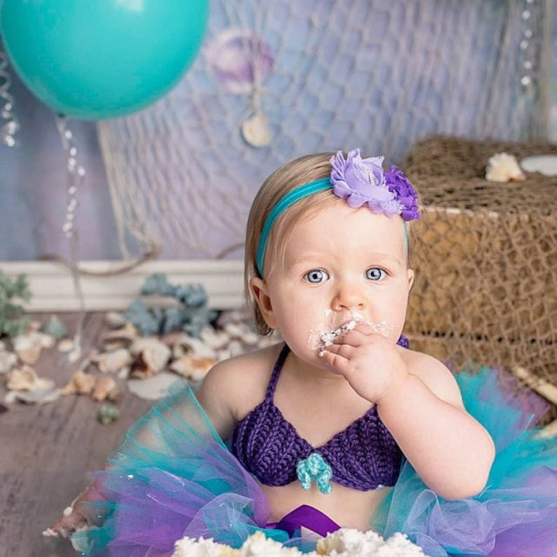 Crochet seashell mermaid TOP, shell bikini costume, Hawaiian hula top,  crochet baby mermaid bikini bra, 5 sizes, tutu outfit top