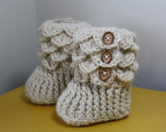 Crochet Baby Booties, 0-6 month size, Oatmeal , Premium Alpaca yarn, quality wood buttons, Made to Order, Heirloom