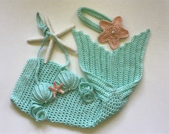 Crochet mermaid beach photo prop, 5 sizes,mermaid tail,baby shower mermaid gift,mermaid baby outfit,3 piece set,mermaid costume,handmade