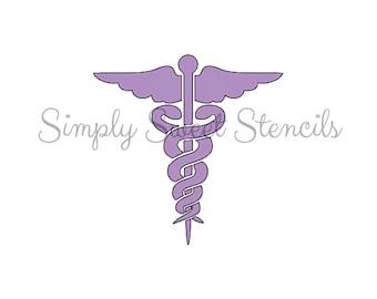 Caduceus (Medical Symbol) Stencil