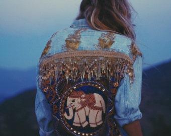 Made to Order | Embellished Elephant Boho Jacket in Royal Blue
