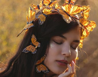 Monarch Fairy Butterfly Crown - Adjustable - With Hair Clips