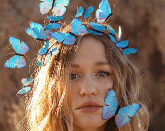 Electric Desert Blue Butterfly Crown - Backorder - Adjustable - With Hair Clips