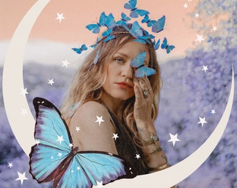 Digital Download | Butterfly & The Moon | PNG Files for Collage