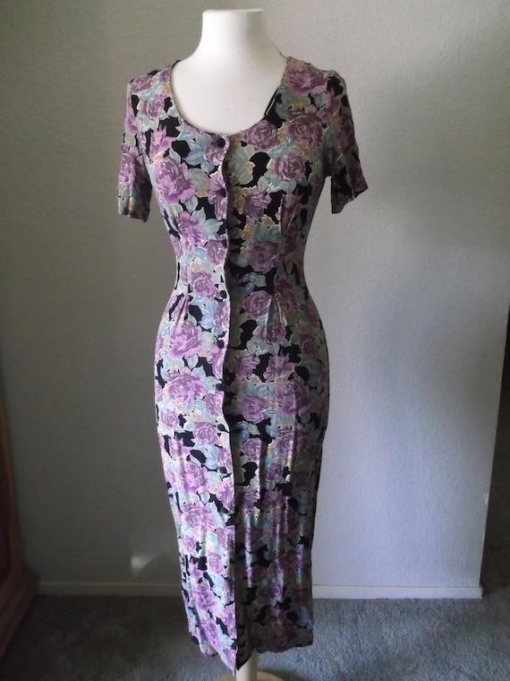 1980s Floral Print Midi Dress