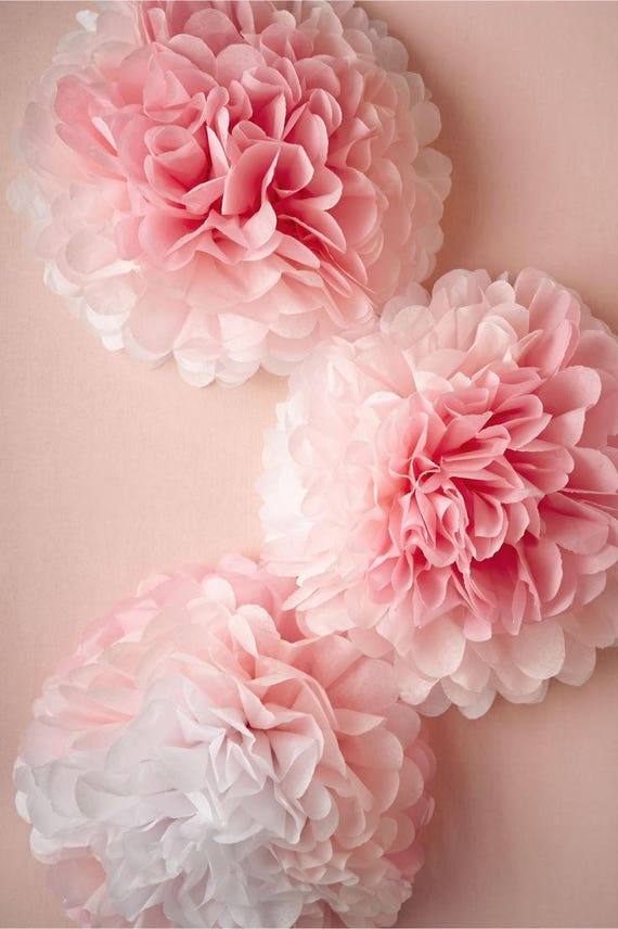 Baby Shower Tissue Paper Pom Pom Set Diy Ombre Pink Paper Flowers Dessert Table Wall Backdrop Fluffy Pom Poms Baby Nursery Cake Smash
