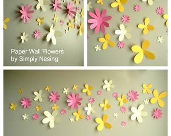 Paper Wall Flowers... Set of 36...Flower Garden Collection...Choose your colors