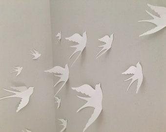 White 3d Paper Wall Birds, 3d Wall Art, Nursery Wall Art, Whimsical Nursery Decor, Wedding Bird Decor, DIY Bird Mobile, Gift Packaging