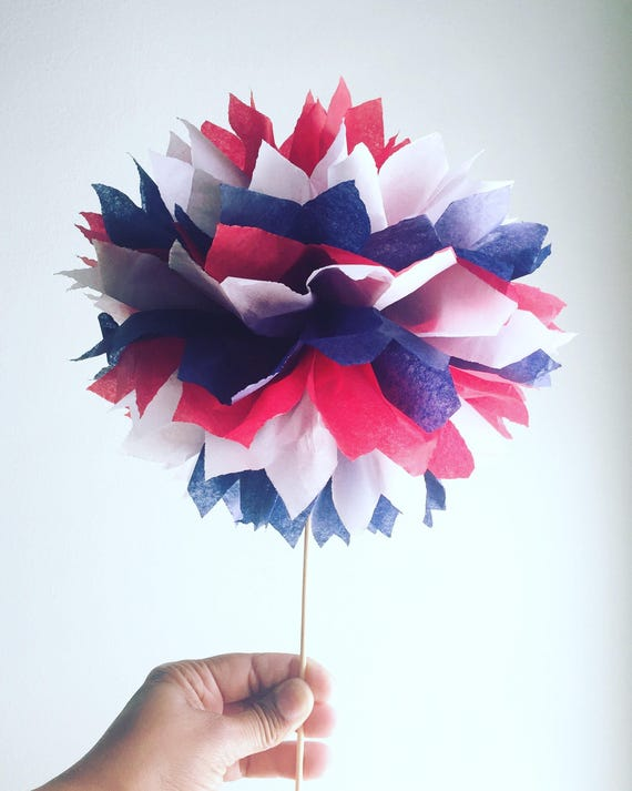 Red White And Blue Topiary Pom Pom Table Centerpieces Etsy