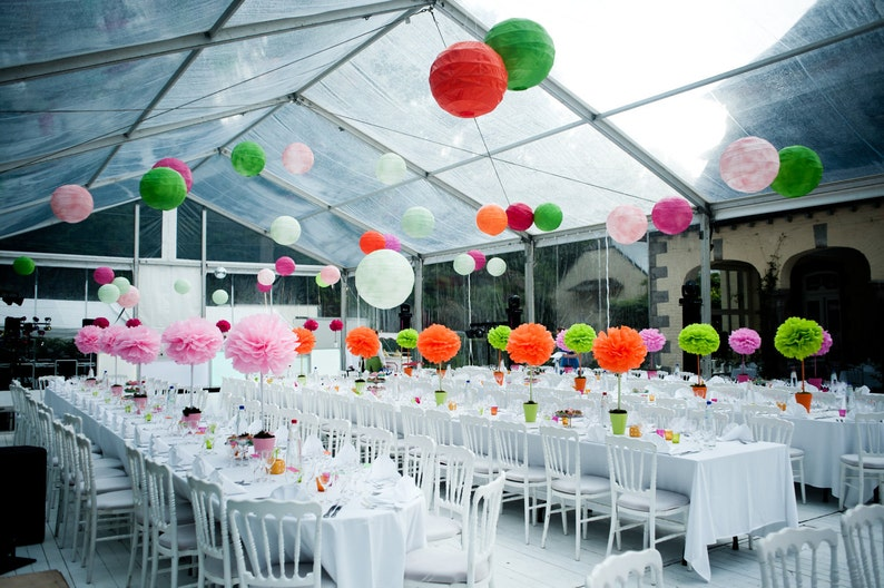Tissue Paper Pom Poms Baby Shower Table Centerpieces Tabletop Topiary Diy Wedding Paper Flowers Pink Orange And Lime Party Decorations