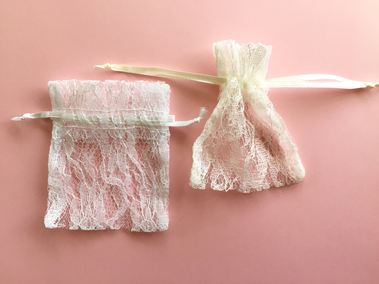 Wedding Favor Bags Lace Fabric Bags Lace Drawstring Ivory   Etsy