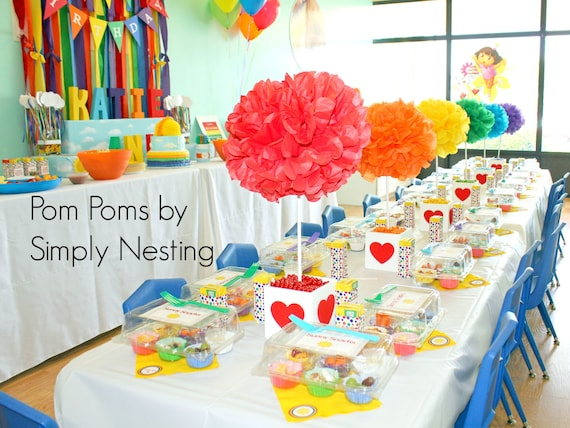 Unicorn Rainbow Art Party Table Centerpiece Tissue Paper Pom Etsy