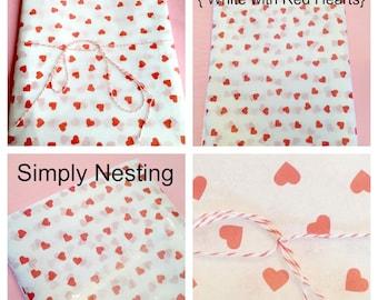 Valentines Day Tissue Paper, Valentines Day Decorations, Red Heart Tissue Paper, Valentines Gift Packaging, DIY Gift Wrap, Tissue Paper