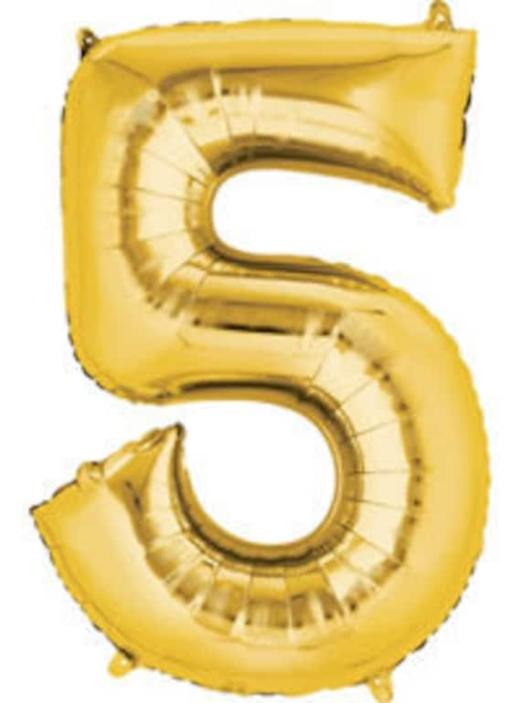 40 Inch Gold Number 5 Balloon 5th Birthday Jumbo Size