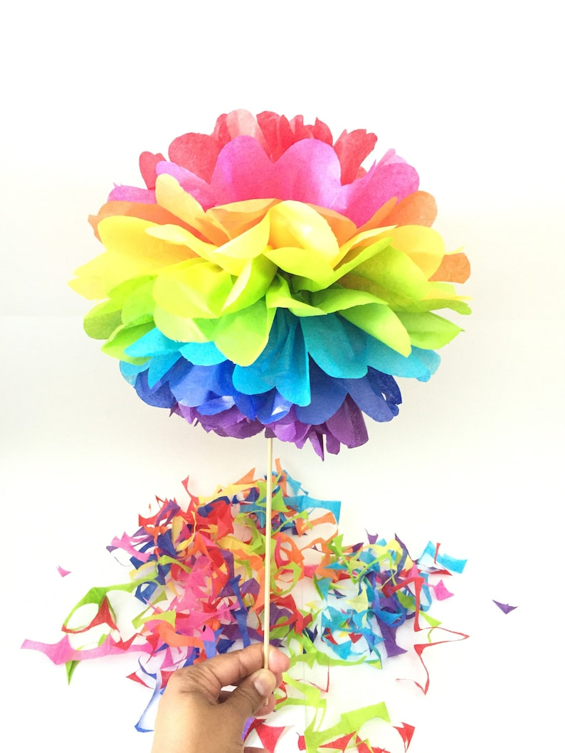 rainbow topiary pom pom table centerpieces rainbow pom poms etsy rh etsy com tissue paper pom poms table centerpieces